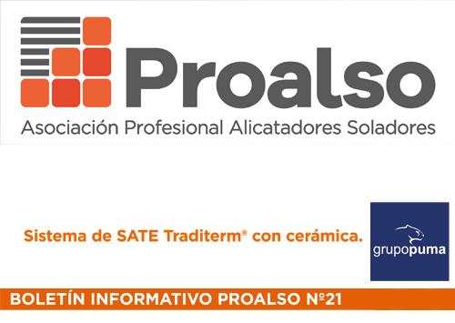 Sistema SATE Traditerm ceramic en el boletín informativo de Proalso